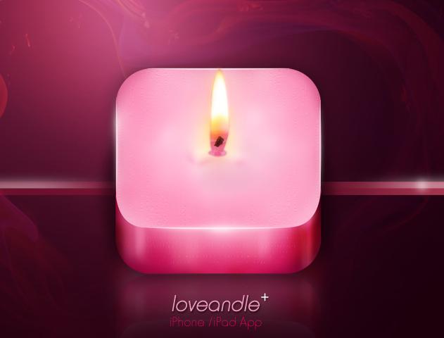 粉色蜡烛图标UI设计