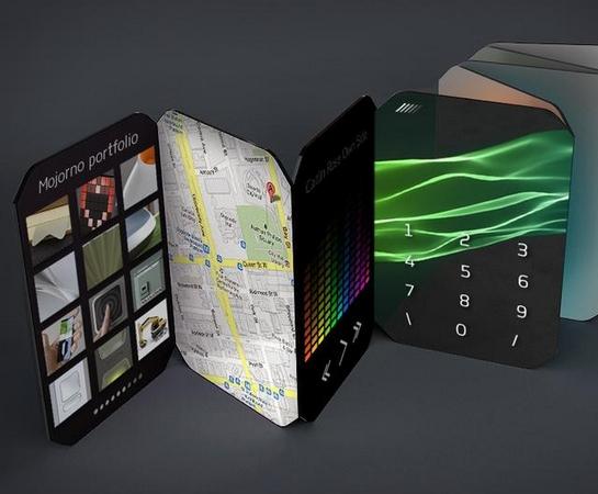 可折叠纸板厚度概念智能手机