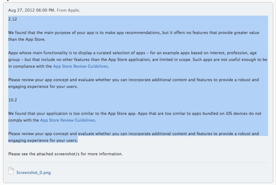 苹果拒绝App推荐类App