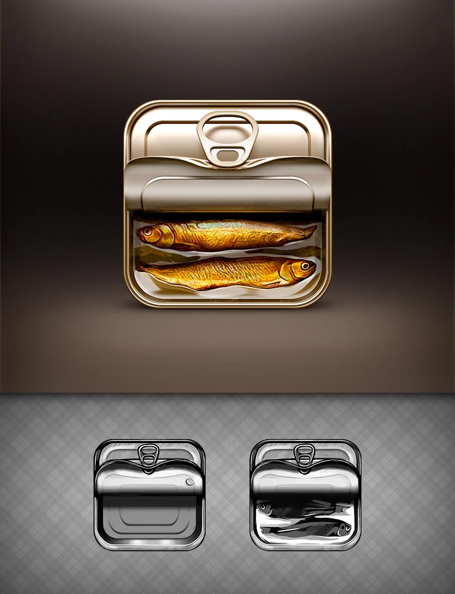 锡罐罐头鱼图标UI设计