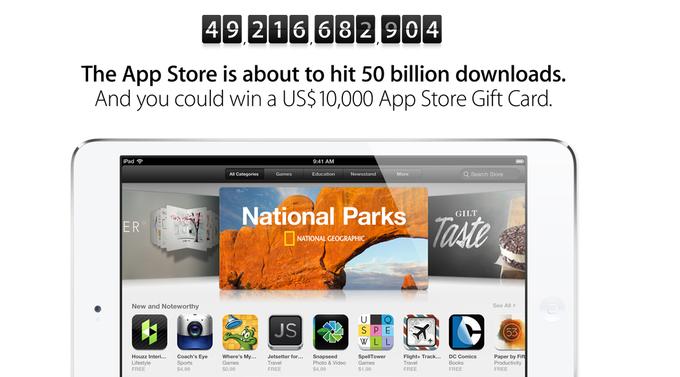 苹果App Store下载量将达500亿