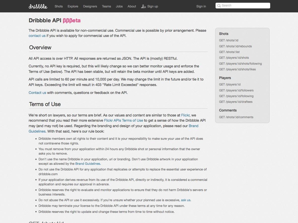 Dribbble API