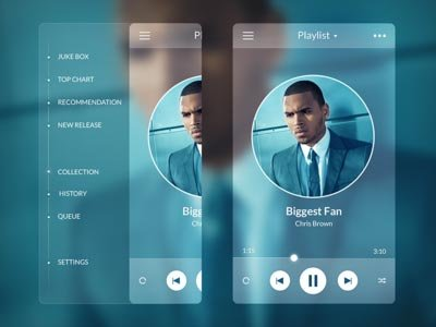 Music Player - Side Menu ui设计