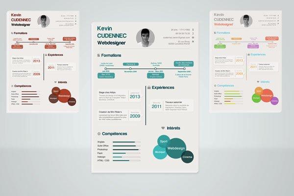 信息图风格的简历模板下载图片