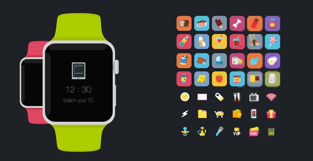 精品App Watch模板+UI组件免费下载apple watch fres psd flat mockup