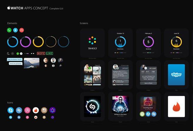 精品App Watch模板+UI组件免费下载Watch Apps Concept GUI 2.0