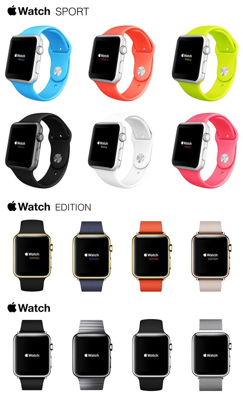 精品App Watch模板+UI组件免费下载Apple Watch Free Mockups Kit