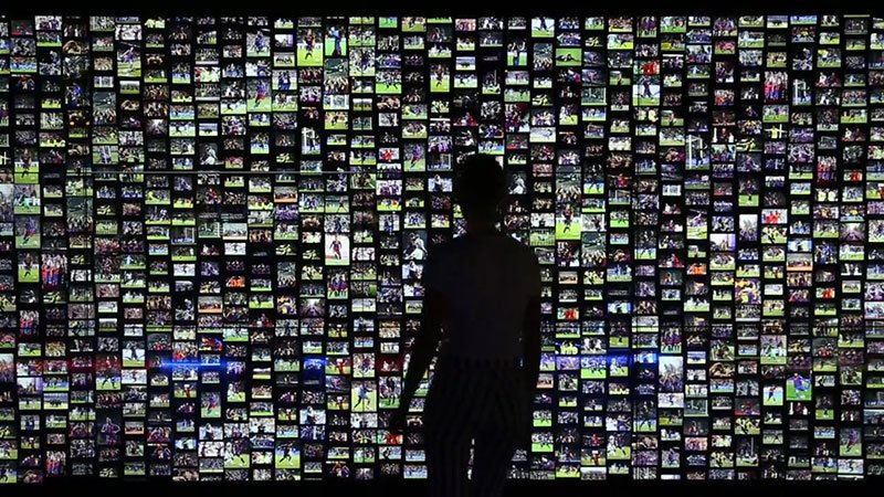 Photo from an interactive video wall installation at FC Barcelona Museum.