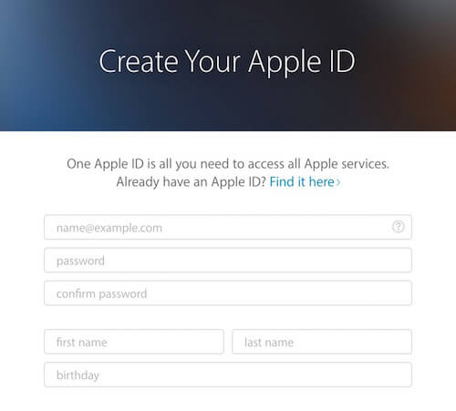 Apple registration form