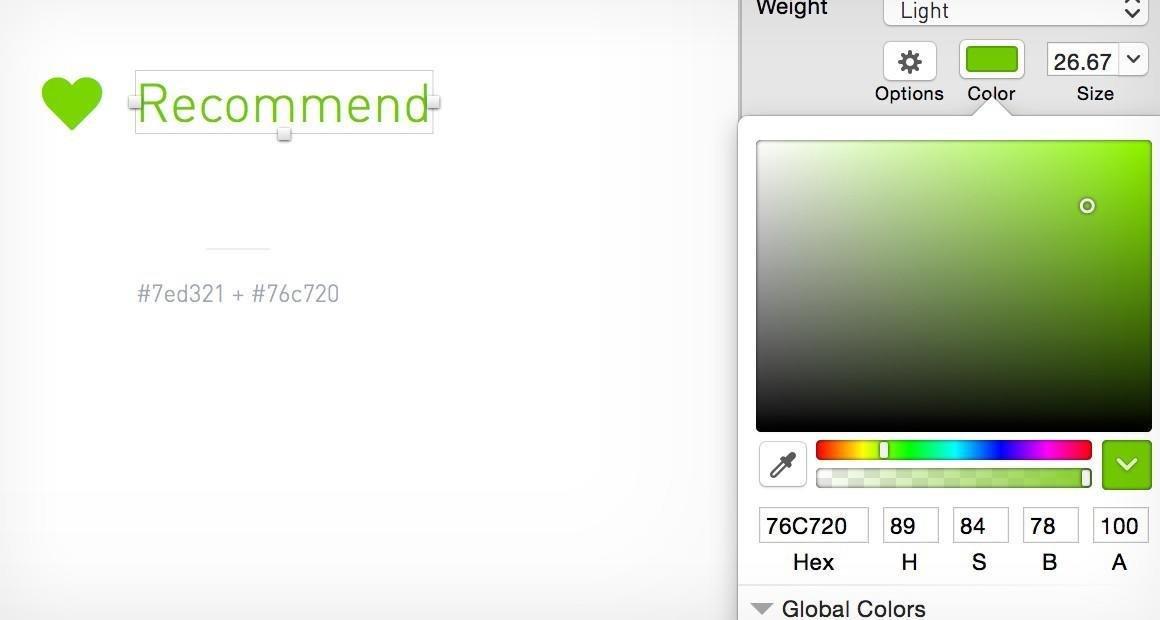 我推荐使用 HSB / HSL 色值。它们允许设计师通过调整「L」或者「B」的值来迅速地改变一种颜色的明度。