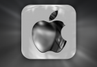 三个不同质感的苹果LOGO图标